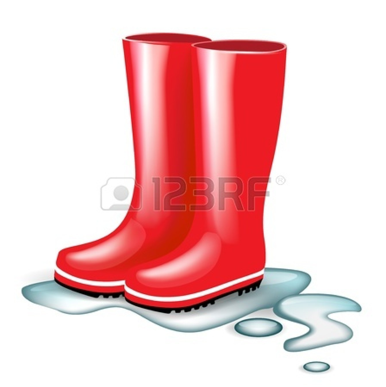 Red Rain Boots Clipart 14554947 Red Rubber Boots In Splash Of Water