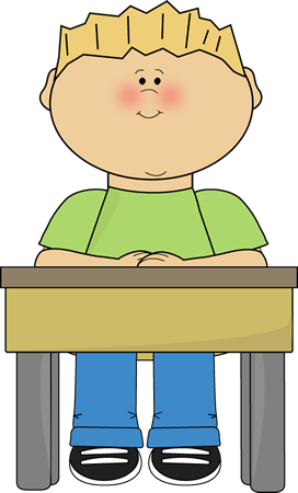 Student Sitting At School Desk Card Clip Art Image   Student Sitting
