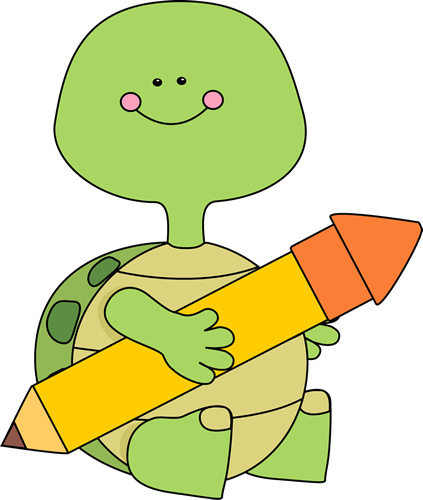 Turtle Holding A Pencil Clip Art Image   Cute Turtle Sitting Down And