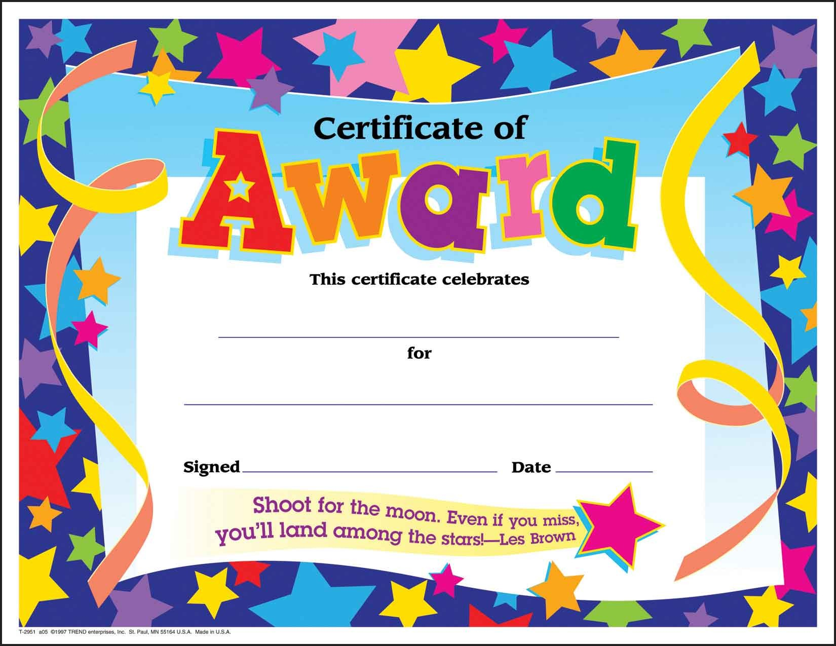 30 Children S Certificates Of Award Star Pack Large Sticker