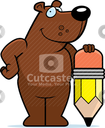 Bear Pencil Stock Vector Clipart A Happy Cartoon With Picture
