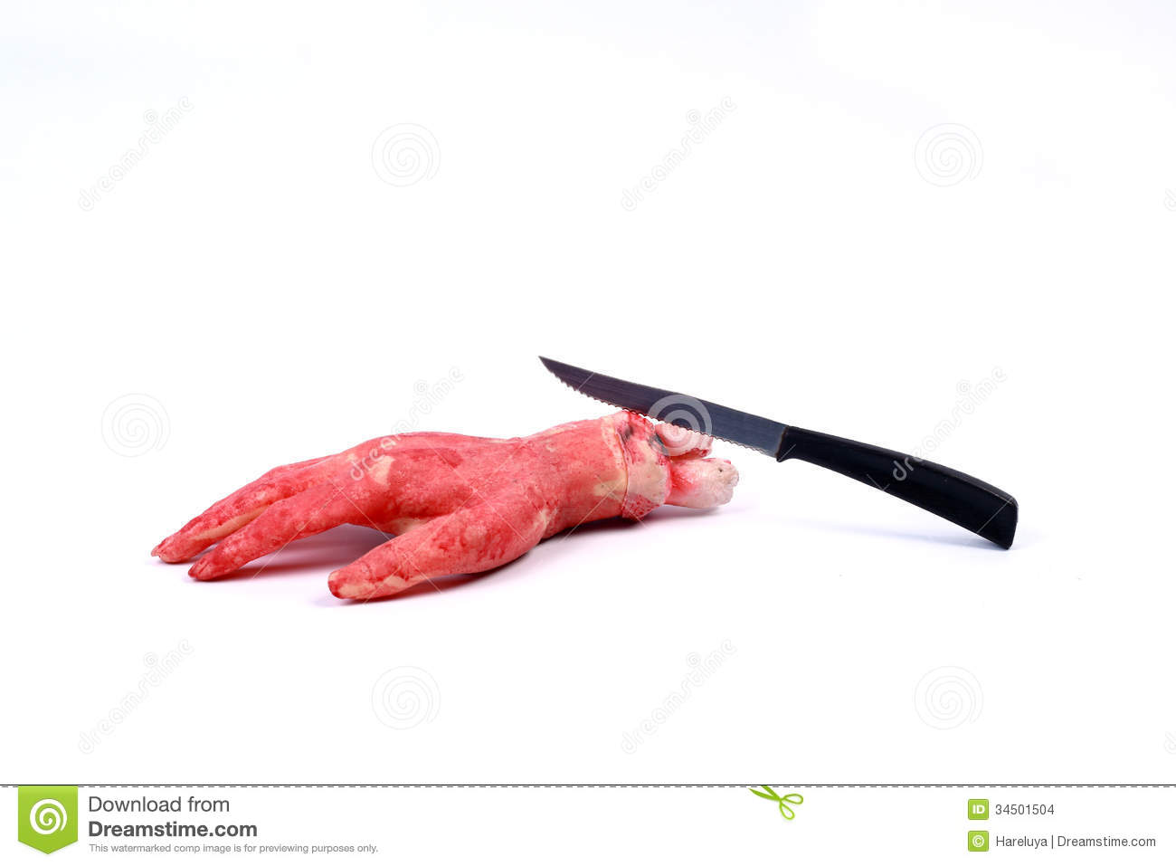 Bloody Hand Making A Fist With Blood Dripping Down Isolated