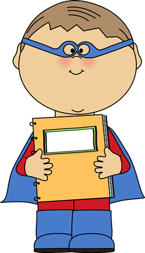 Boy Superhero With A Spiral Notebook Clip Art   Boy Superhero With A