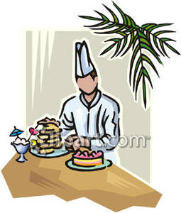 Chef Setting Up A Banquet Table   Royalty Free Clipart Picture