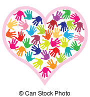 Children Hand Prints In The Heart   Illustration Of Children