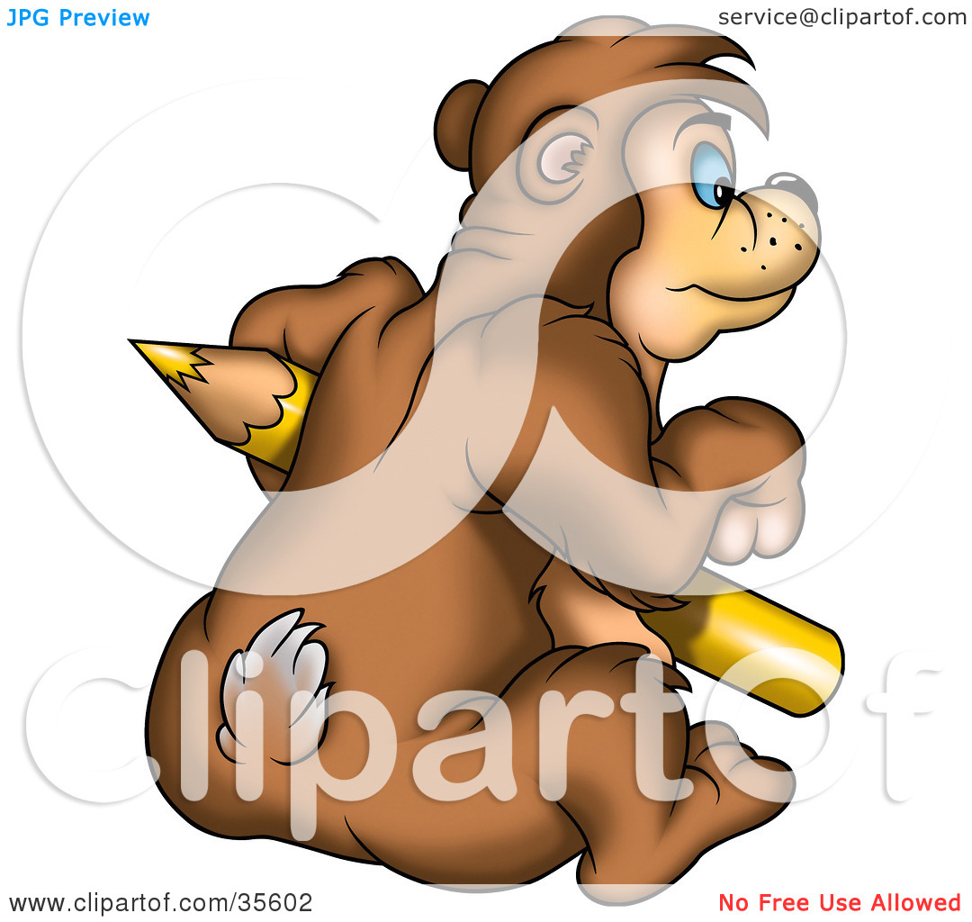 Clipart Illustration Of A Bear Sitting And Holding A Large Yellow