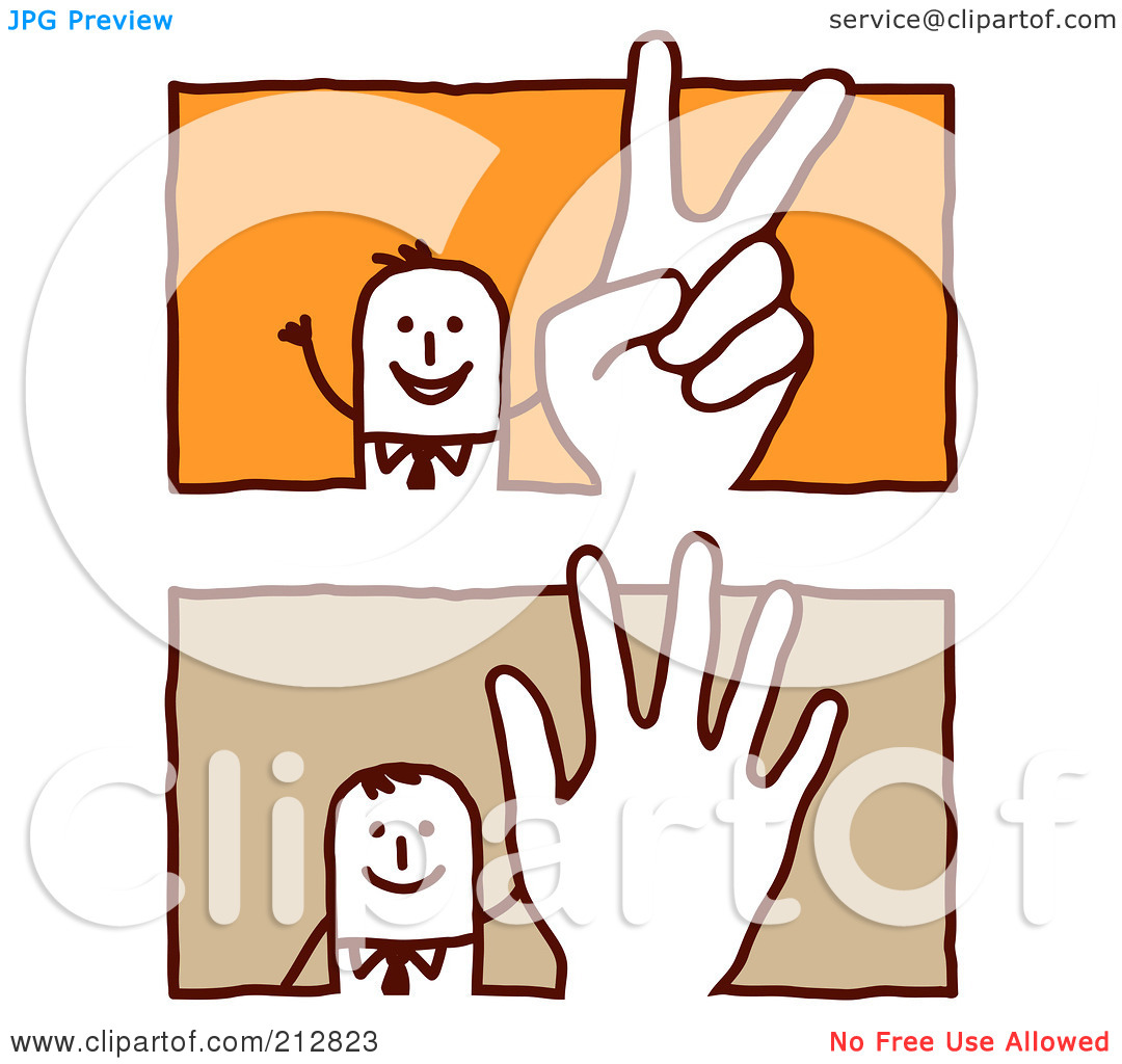 Clipart Illustration Of A Digital Collage Of Stick Business Men Making