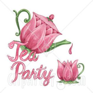 Clipart Illustration Of A Tulip Tea Pot Pouring With Tea Party Text 1