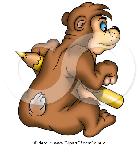 Clipart Of A Sad Teddy Bear   Royalty Free Vector Illustration