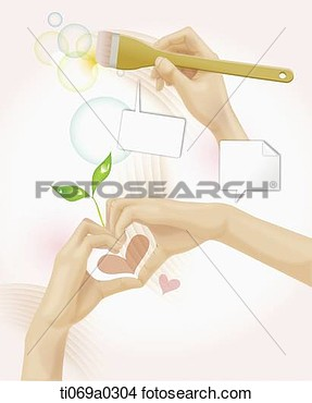 Drawings Of The Hand Holding Brush And Making Heart With Speech Bubble