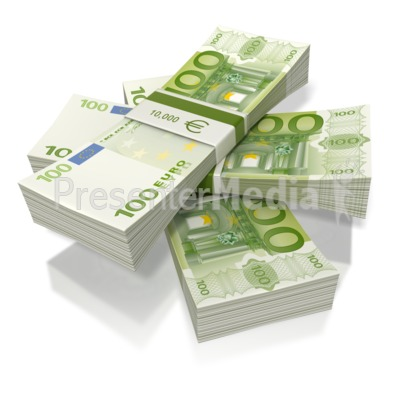 Euro Money Three Stack   Education And School   Great Clipart For