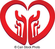 Hands In A Heart Logo Vector Clip Art