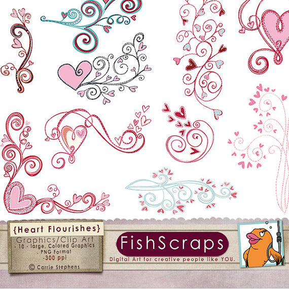 Heart Clip Art   Heart Flourish   Valentine Clipart   Love Digital