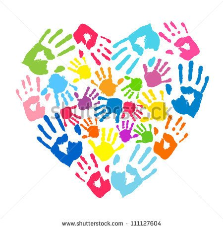 Heart Of The Handprints Of Father Mother And Children   Stock Vector
