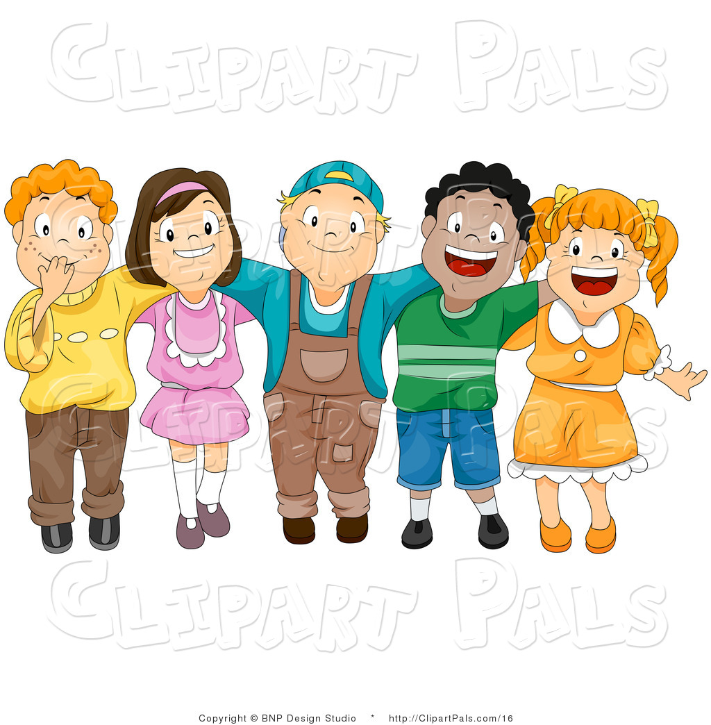 Larger Preview  Pal Vector Clipart Of A Group Of Diverse Children By