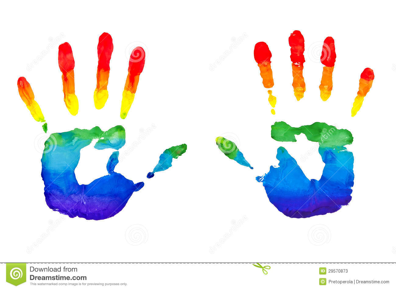 Rainbow Painted Hands Stock Photos   Image  29570873