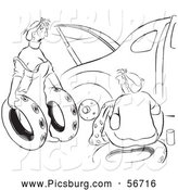Ruined Spare Tires For Her Husband Car Black And White Coloring Page