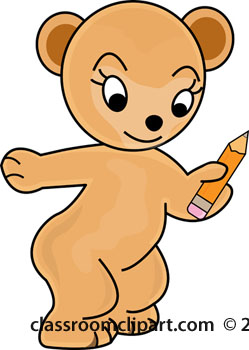 School   School Bear With Pencil   Classroom Clipart