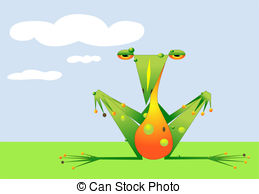 Stylized Frog Sits In A Sunny Field   A Cute Warty Frog Is