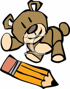 Teddy Bear With A Yellow Pencil Clip Art Image