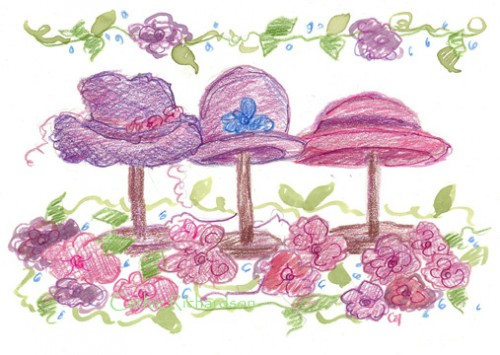 Victorian Tea Party Hats On Hat Stands Original Watercolor Painting
