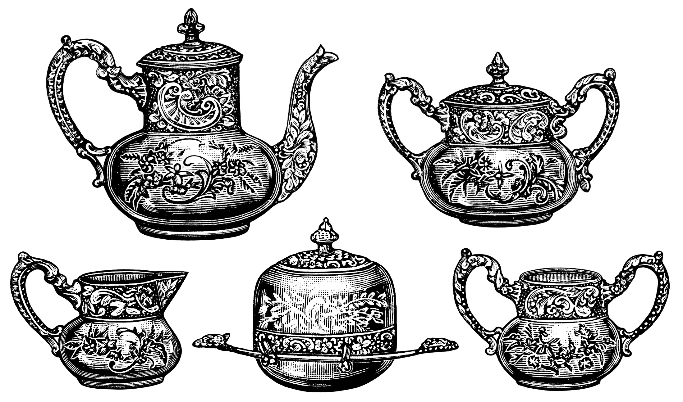 Vintage Tea Clip Art Black And White Graphics Tea Party Clipart