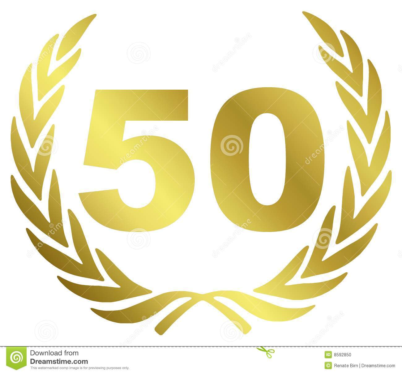 50 Anniversary Illustration With Laurel Wreath