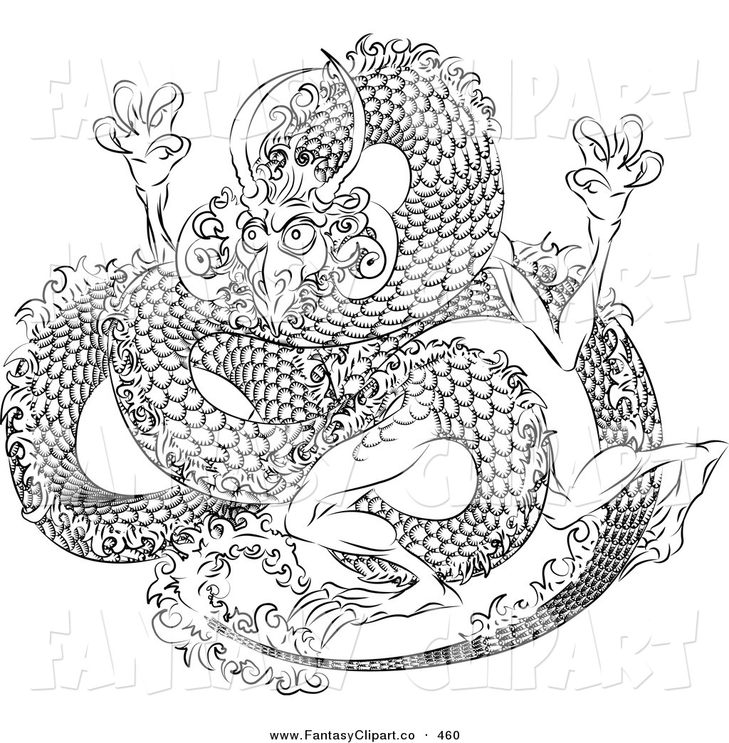 Art Of A Black And White Coloring Page Outline Of A Japanese Dragon