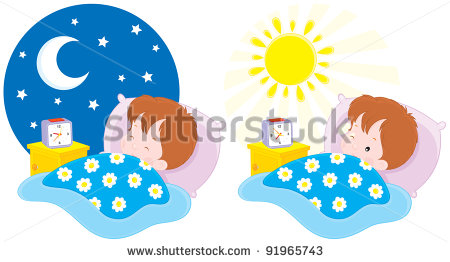 Boy Sleeping By The Night And Waking Up In The Morning Stock Vector