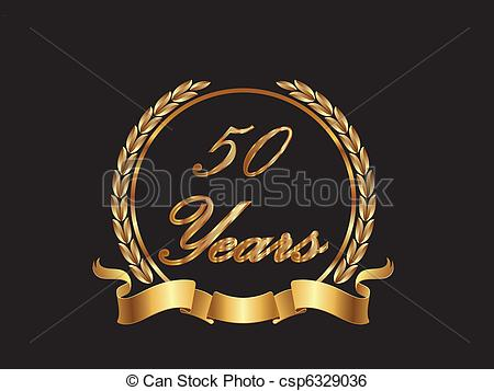 Clip Art Vector Of 50 Years In Gold Csp6329036   Search Clipart
