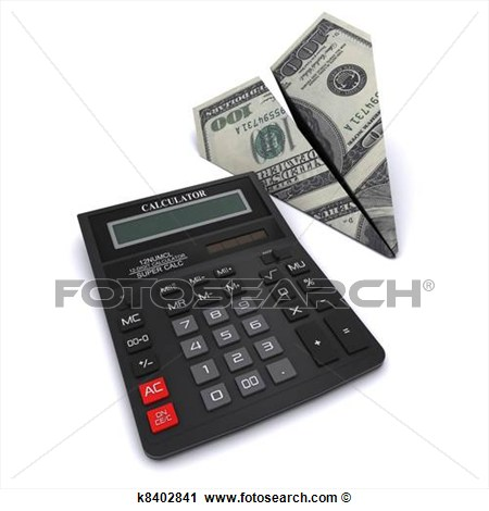Clipart   Black Office Calculator And Paper Airplane Made From A   100