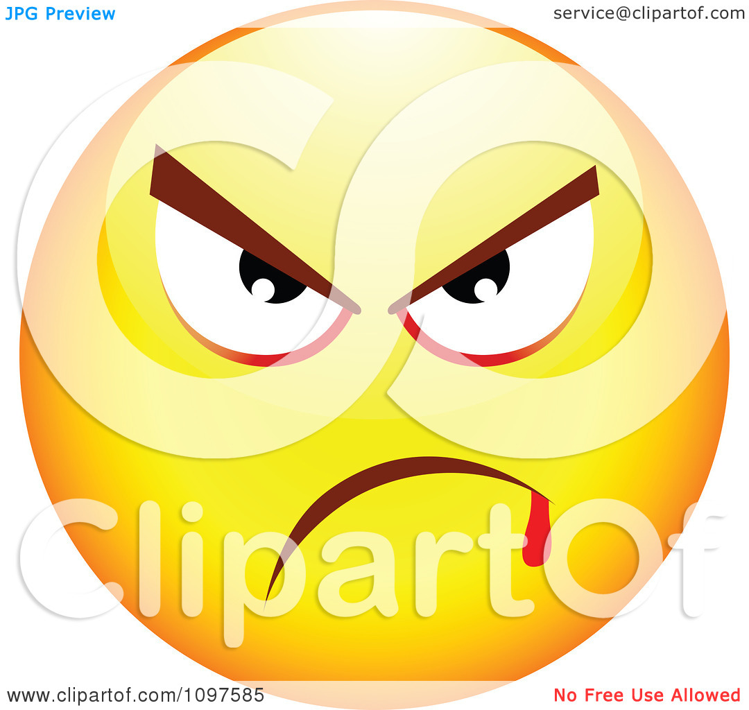 Clipart Yellow Mean Cartoon Smiley Emoticon Face 1   Royalty Free