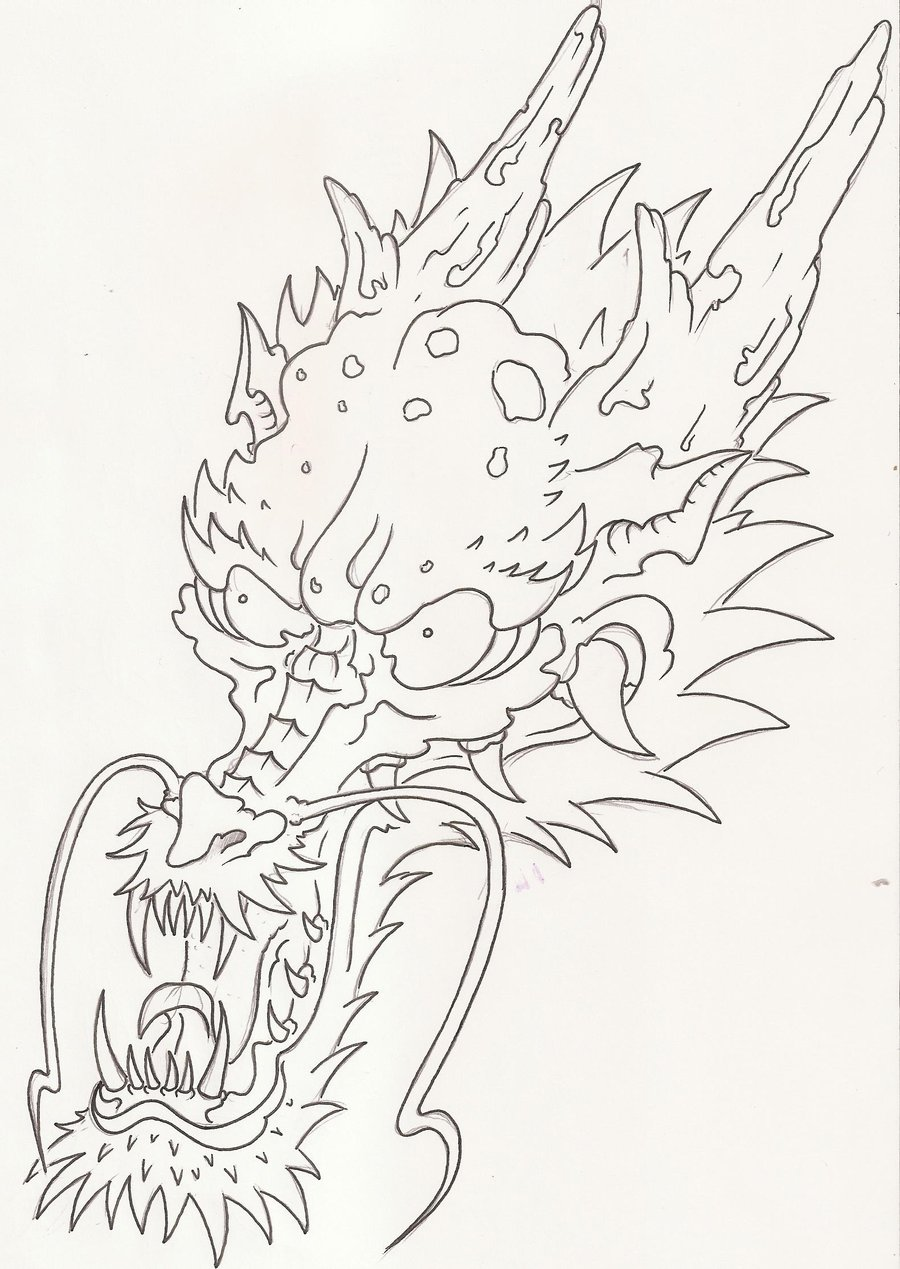 Japanese Dragon Head Sketch Images   Pictures   Becuo