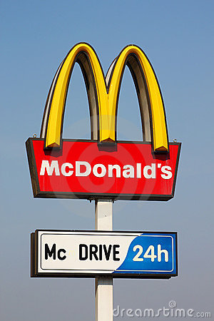 Mcdonalds Logo On Blue Sky Background Editorial Stock Photo   Image