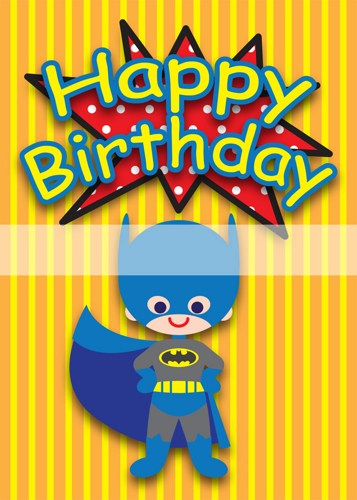Printable Clipart Digital Pdf File Superhero 5 X 7 Inch Birthday Cards