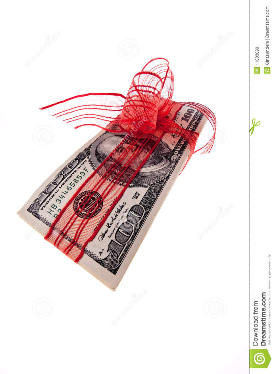 Red Bow On  100 Bill Royalty Free Stock Photos   Image  11883898