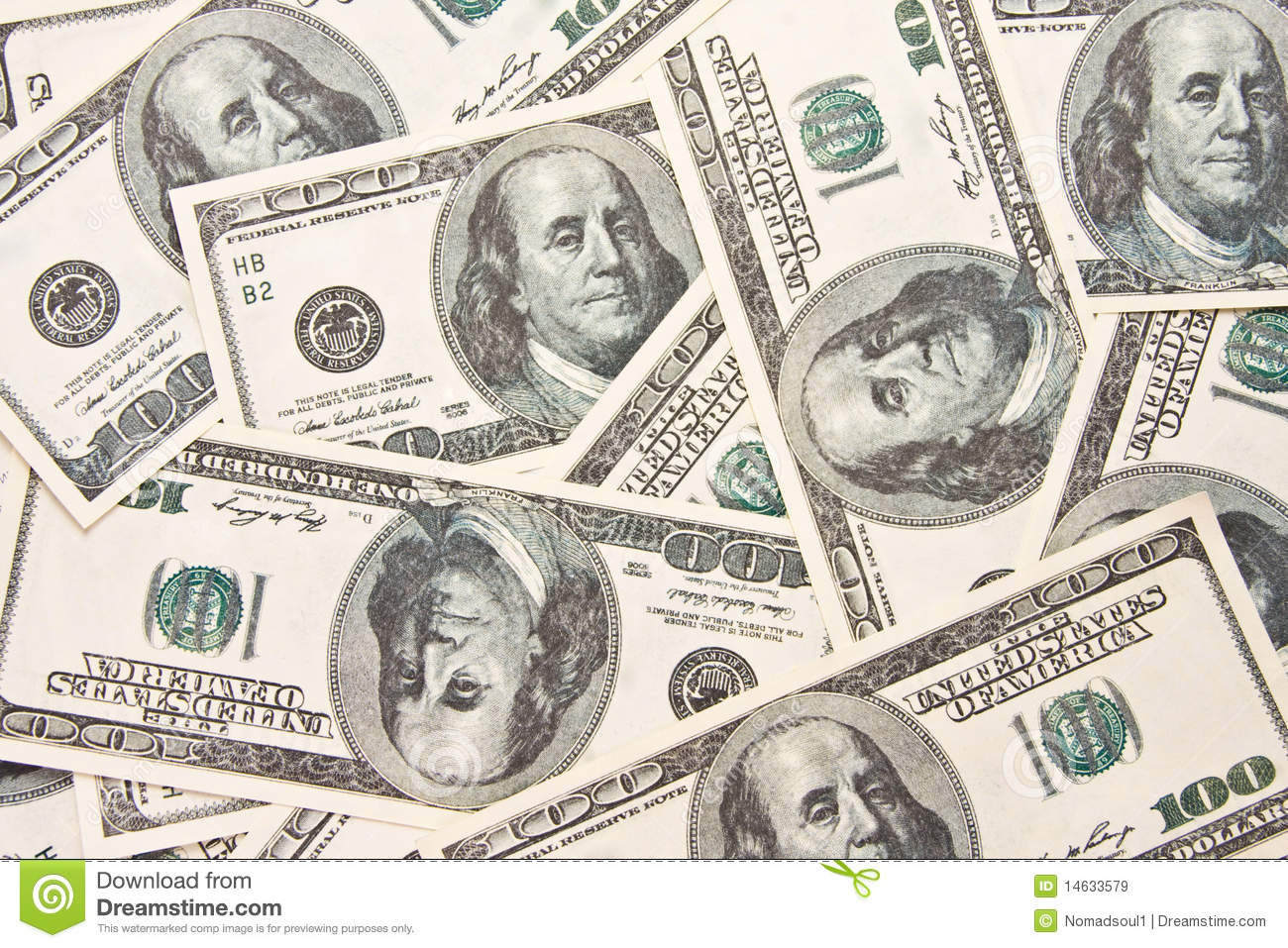 Royalty Free Stock Images   100 Bills Background