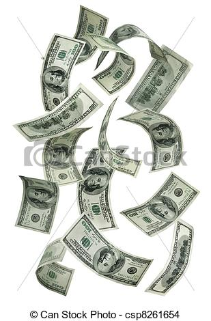 Stock Photo   Falling Money  100 Bills   Stock Image Images Royalty