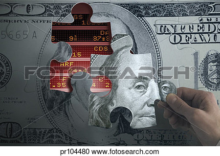 Stock Photography Of  100 Bill Jigsaw Puzzle Over Stock Market Ticker