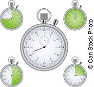 Stopwatch Set With 15 Min Interval Timers Clipart Vector