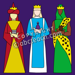 Three Kings Clip Art In Color  An Illustration Of Three Kings Or Wise