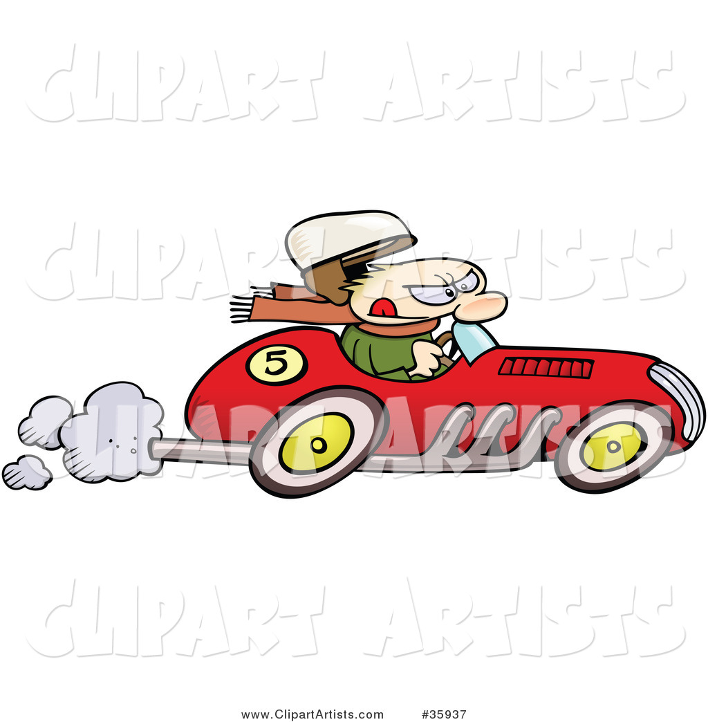 Caucasian Man S Hat Flying Off As He Races A Vintage Red Race Car