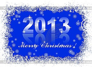 Christmas And New Year Card With 2013 On Blue Winter   Vector Clip Art