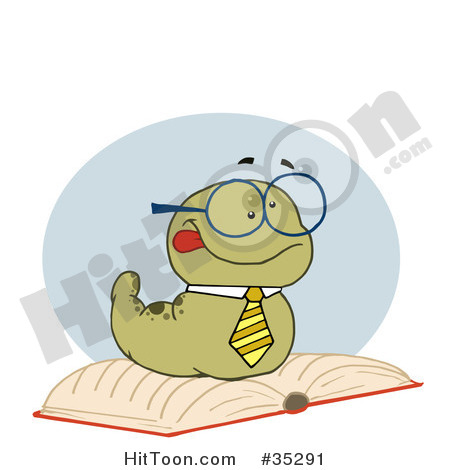 Clipart Of A Worm Reading A Book Pictures To Like Or Share On Facebook