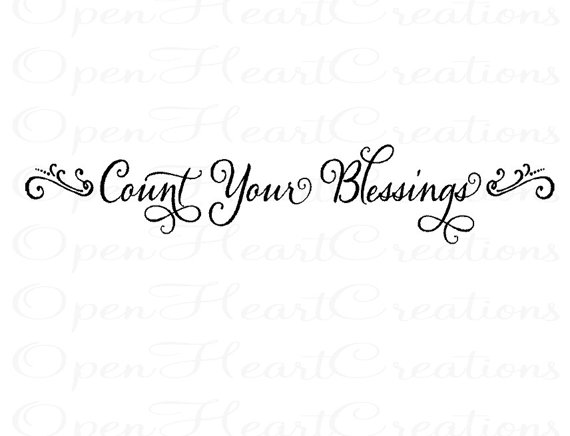 Count Your Blessings Wall Decal   Picture Photograph Family Entryway