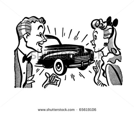 Couple With New Car   Retro Clipart Illustration   Stock Vector