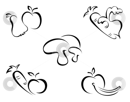 Fruit And Vegetable Clip Art Black And White Cutcaster Photo 100545078