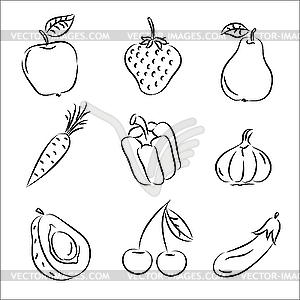 Fruits And Vegetables   Vector Clipart