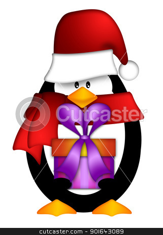 Like Or Share Penguin With Red Santa Hat Vector Clip Art Free Vector