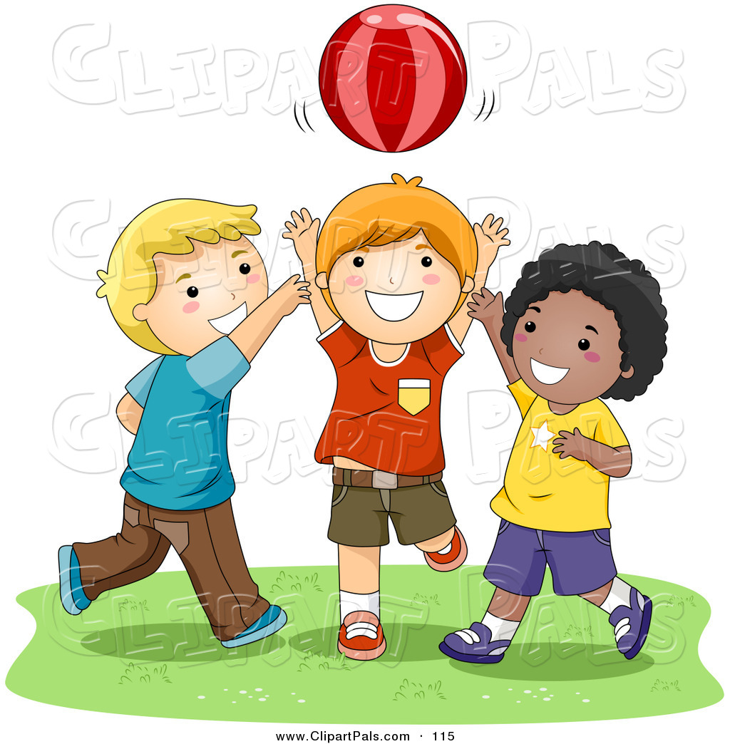 Pal Clipart Of A Trio Of Happy Boys Playing Catch With A Ball By Bnp